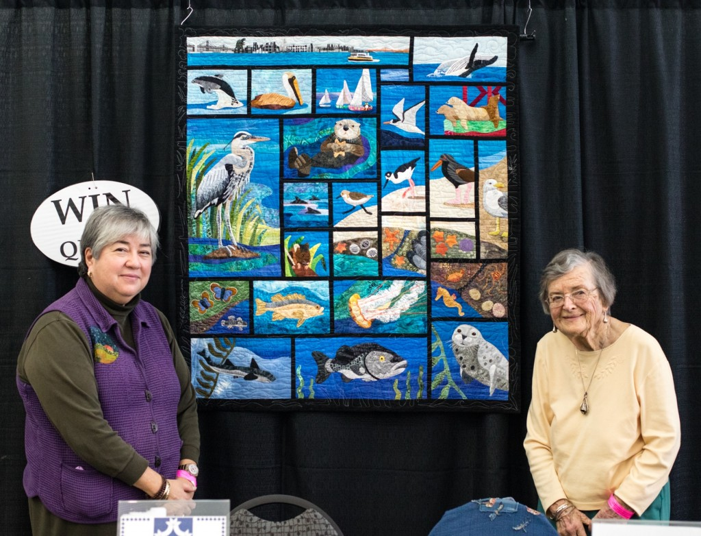 East Bay Heritage Quilters members Edy Brady (l) co-chair of Voices in Cloth and Gwen McMillan (r) a guild member since 1985. Picture by Brian Roberts Photography