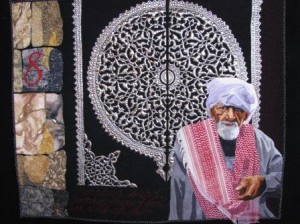 Mohamed Sa'ad in Cairo Quilt by Jenny Bowker. Photo by Daniel Heather.